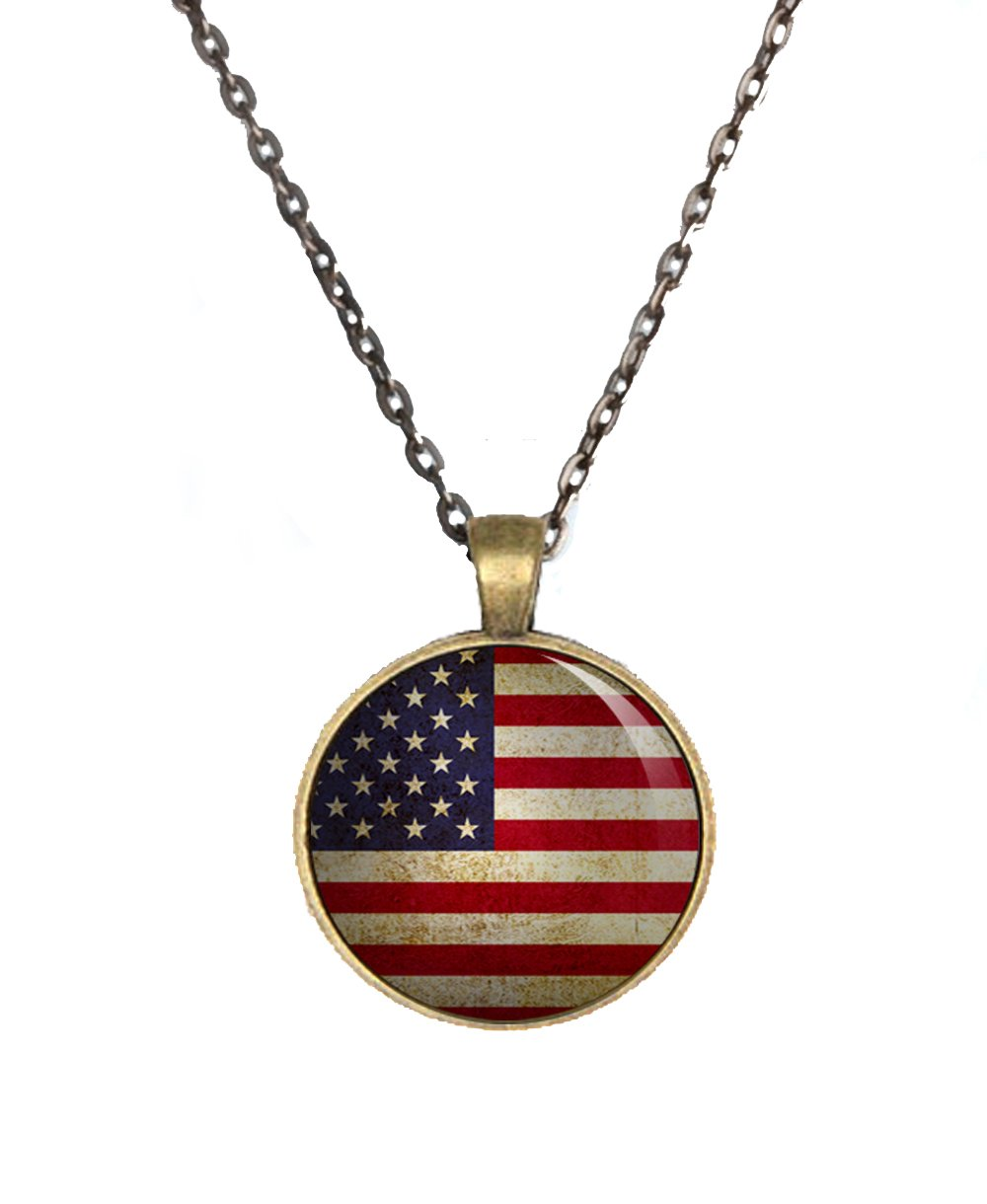United States Flag Brass Pendant Necklace One Inch Round