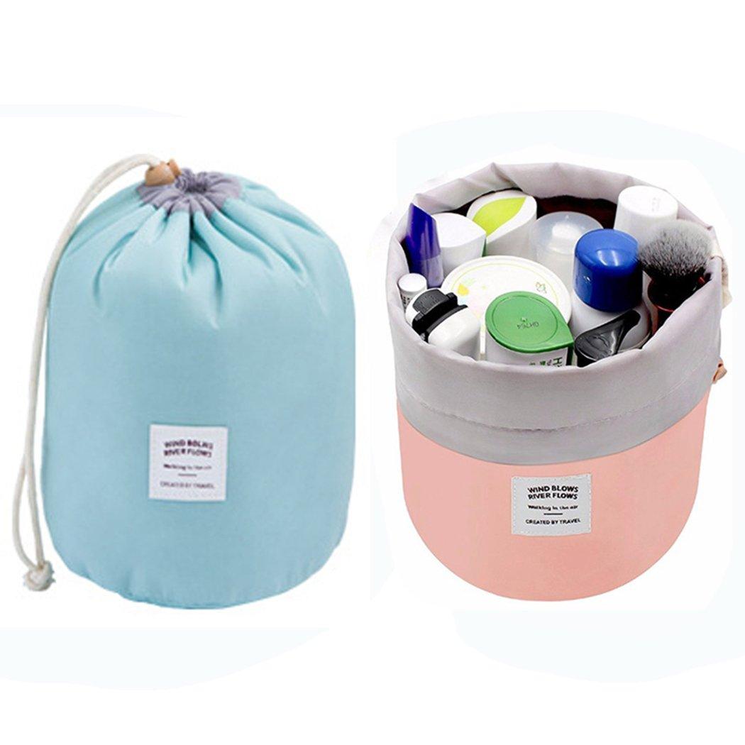 Cosmetic Bag Organizer Makeup Bag Waterproof Toiletry Bag Bucket Shaped Travel Multifunctional Storage Bag (Green+Pink)