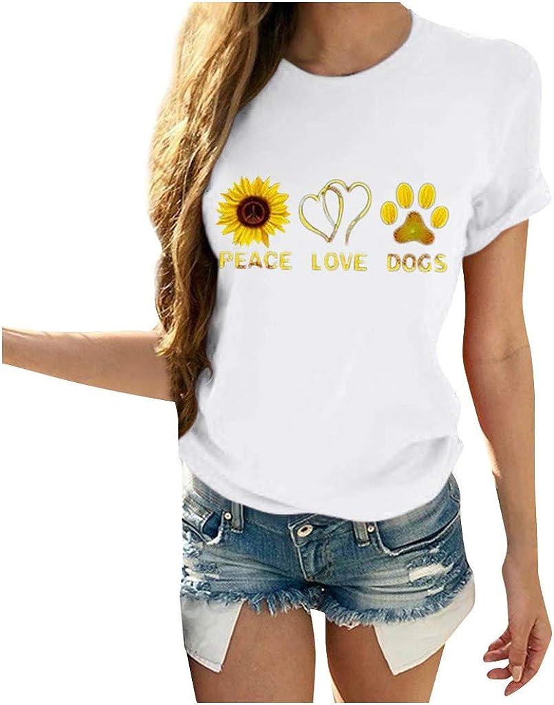 iHHAPY Women's Casual T-Shirts Tops Round Neck Shirt Sweatshirts Short Sleeve Streetwear Summer Sunflower Print Blouse