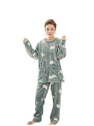 the latest bd88a 9d3fd Damen Pyjama Samt mit Langen Ärmeln Schlafanzug Bequeme ...