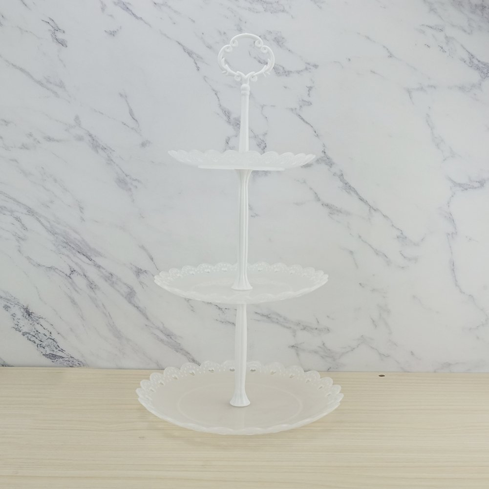 Hotoco 3-Tier White Silver Plastic Dessert Stand Pastry Stand Cake Stand Cupcake Stand Holder Serving Platter for Party Wedding Home Decor-Small-Set of 2