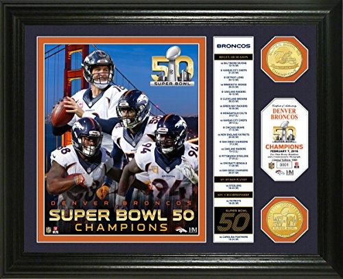 NFL Denver Broncos Super Bowl 50 Champions Banner Bronze Coin Photo Mint Frame, Black (Photo Mint Team)