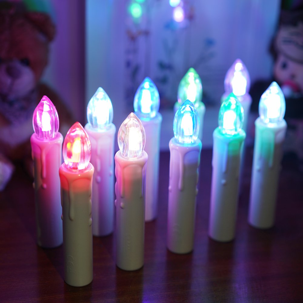 BlueFire 10pcs LED Candle Lights, Timer Remote Control Flickering Flame Battery Operated with Candleholder Clips Waterproof Christmas Tree Candles for Home Wedding Outdoor Party Decor (Multicolor)