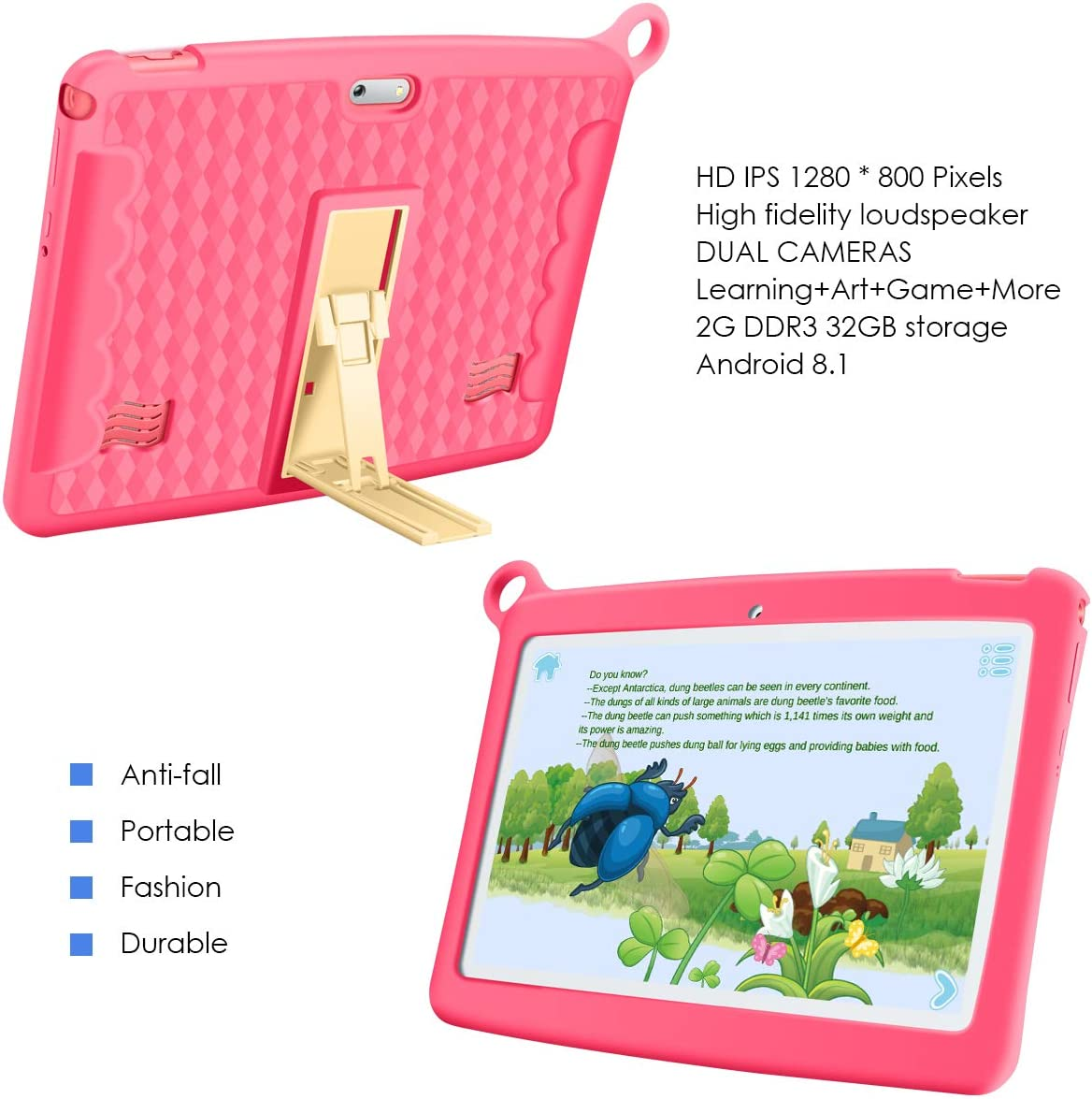 """Android 9.0 tablet with Parental Control Mode WiFi Kid-proof Case Kid Edition Tablet Pad 16GB 1.5GHz Quad Core Google GMS Qimaoo 7/"""" Inch Kids Tablet"""