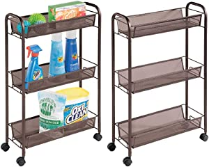 mDesign Portable Rolling Laundry Utility Cart Organizer Trolley with Easy-Glide Wheels and 3 Multipurpose Heavy-Duty Metal Mesh Basket Shelves - Durable Steel Frame - 2 Pack - Bronze