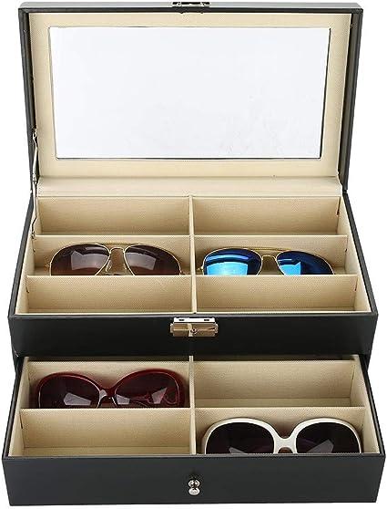 Caja organizadora para guardar gafas de sol - Estuche de 12 compartimentos para gafas con cerradura y