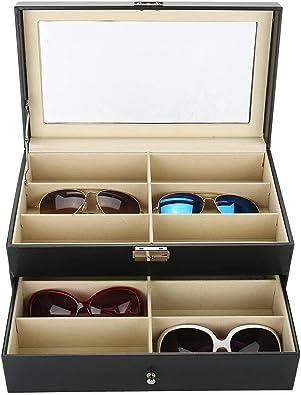 Salmue Estuche Relojero Gafas, 12 Ranuras Estuche de Gafas de Doble Capa con Vitrina de Cristal Joyero Relojero Hombre y Mujer, Joyería Caja de Almacenaje de la Joyería para Todos los Relojes: