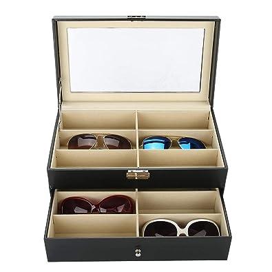 Salmue Estuche Relojero Gafas, 12 Ranuras Estuche de Gafas de Doble Capa con Vitrina de