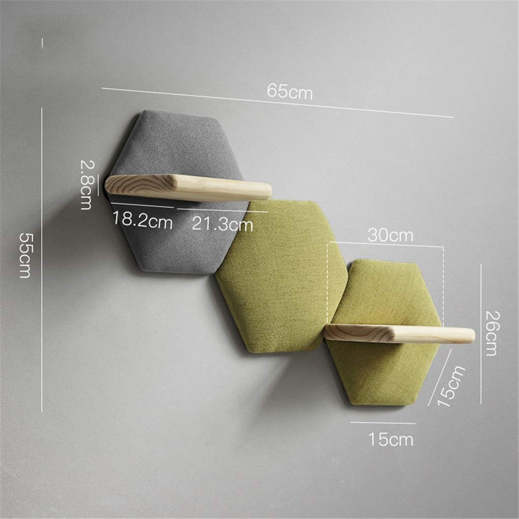 H Yimaojia Creative Personality Cotton and Linen Wall Decorations Wall Hanging Solid Wood Hexagonal Sofa Cotton Rack Coat Hook Shelf (color   J)