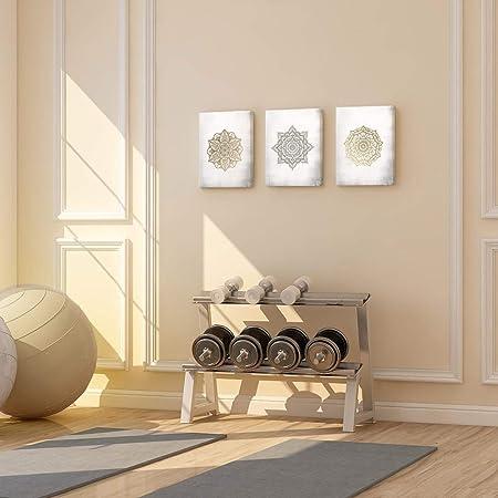 SUMGAR Mandala - Impresión artística sobre Lienzo, diseño de Bohemio Dorado, para Dormitorio, Listo para Colgar, 30 x 40 cmx 3 Piezas