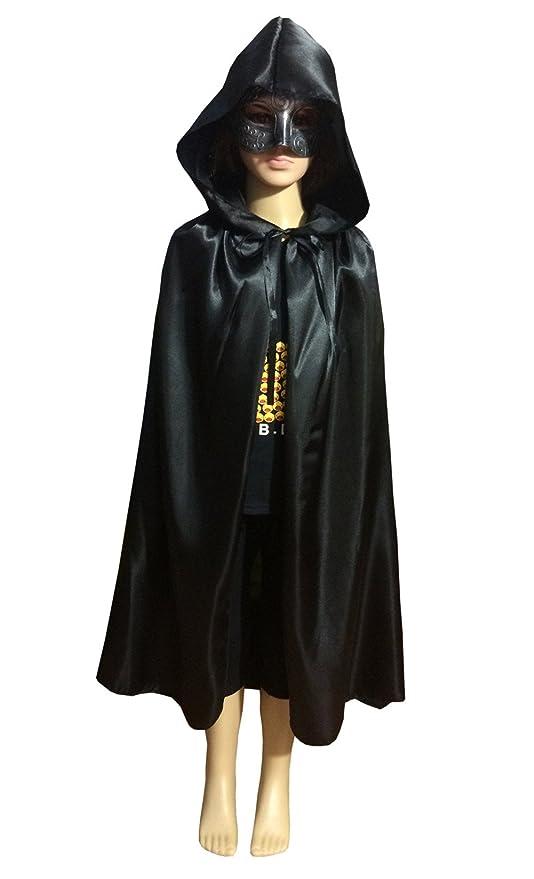 Yontree Capa Negra con Capucha Capa de Mago Capa Medieval de Tela Unisex niños Traje de Cosplay en Halloween Navidad Talla S Negro