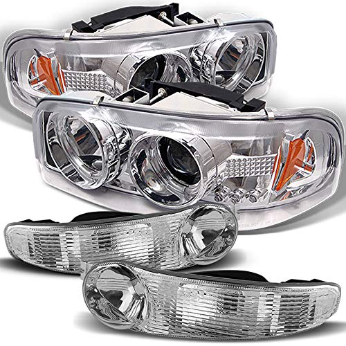 Xtune for 2000-2006 GMC Sierra/Yukon Denali Halo Projector Headlights w/LED + Bumper Lights 2001 2002 2003 2004 2005 (Gmc Sierra Halo Projector)