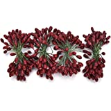 SQingYu 100 pcs Artificial Red Cherries Fruit Beads, Artificial Berries with Wires for Wove Garlands, DIY Garland Bracelet Craft Fruit Christmas Decoration