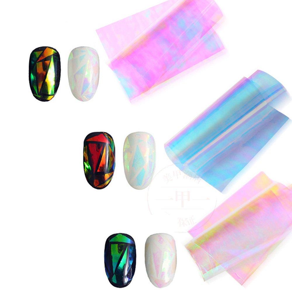VANKER Clavo del color multi manicura engomada Aurora Calcomaní as Foil dedo del brillo de bricolaje