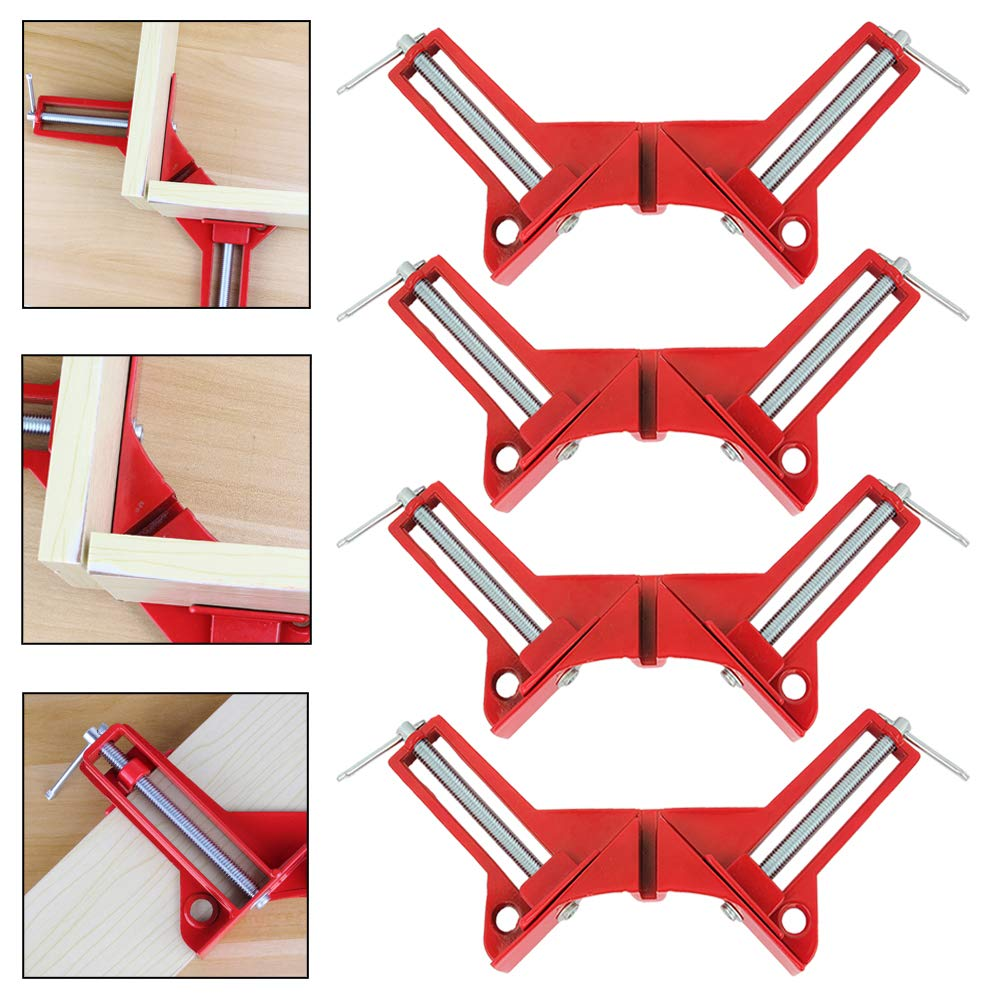 SENZEAL 4X Angle Clamp Aluminium Alloy 90 Degree Corner Clamp Right Angle Clamp for Wood DIY Glass Aquarium Quick Fixing Clip Frame Tool