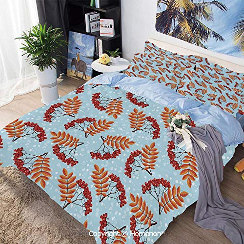 Three-Piece Bed,Abstract Backdrop with Dried Leaf and Bunch of Vivid Berries Mountain Ash Decorative,King Size,Include 1 Quilt Cover+2 Pillow case,Light Blue Red Orange (Set Poster Ash Bed)