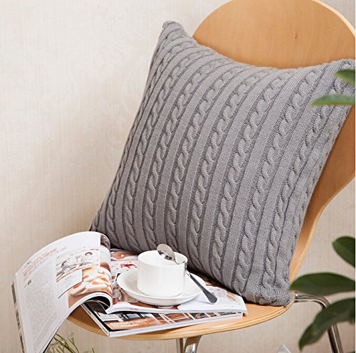DOKOT 100% Cotton Knitted Decorative Square Warm Throw Pillow Cover / Cushion Cover (18x18inches(45x45cm), Gray) (Gray Pillow Covers)