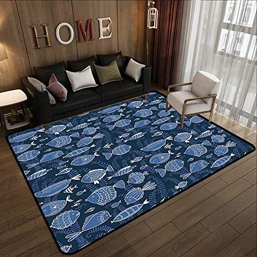 Rugs for Bedroom,Ocean,Sealife Marine Navy Image with Tropic Fish Moss Leaves Artwork Image,Blue Indigo Royal Blue 71