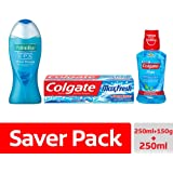 Palmolive Bodywash Feel the Massage Shower Gel - 250 ml with Colgate Blue Max Fresh Toothpaste - 150 g and Colgate Peppermint Fresh Mouthwash - 250 ml