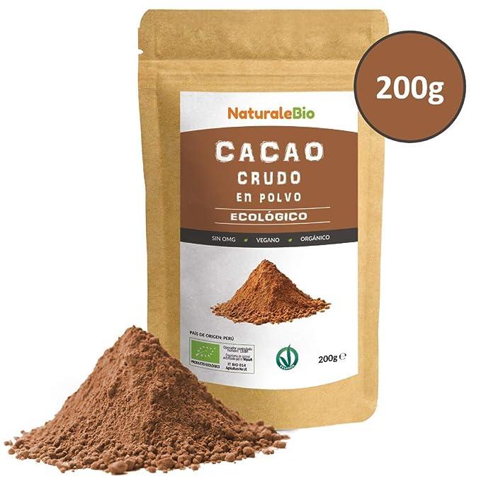 Cacao crudo Ecológico en Polvo 200g | Organic Raw Cacao Powder | 100% Bio, Natural y Puro | Producido en Perú a partir de la planta Theobroma Cacao | Rico ...