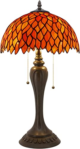 Tiffany Lamp Red Wisteria Antique Style Reading Beside Table Desk Light W12H22 Inch Tall S523R WERFACTORY Lamps Lover Parents Kids Friend Living Room Bedroom Coffee Bar Study Office Art Crafts Gift