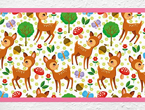 (I-love-Wandtattoo b-10006 Nursery Wall Decal Border Deers in the forest Wallpaper Stripes Girl kids decoration)