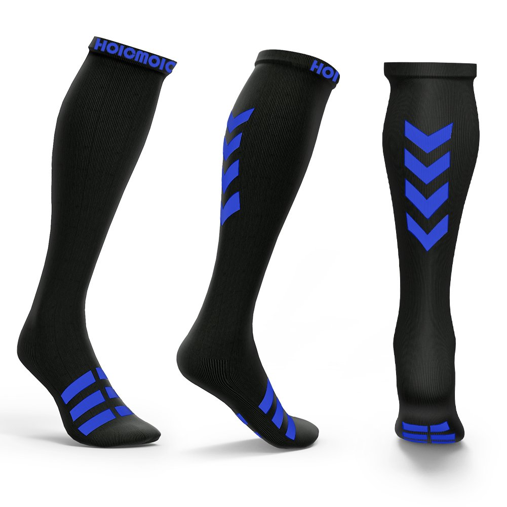 Hoicmoic Compression Socks for Men & Women, 20-30mmHg Graduated Athletic Sports Socks Fit for Running, Nurses, Maternity Pregnancy and so on - Boost Stamina, Circulation & Recovery Black Green XL