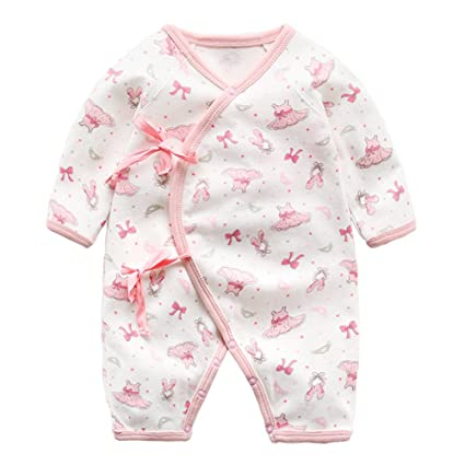 1b1447217f44e 前開き パジャマ ベビー 女の子 男の子 赤ちゃん カバーオール 長袖 秋 ロンパース 花柄 リボン 男女兼用