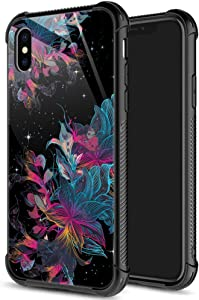 ZHEGAILIAN iPhone XR Case,9H Tempered Glass iPhone XR Cases for Girls Women,Cute Galaxy Flower Pattern Shockproof Anti-Scratch Case for Apple iPhone XR 6.1 inch Galaxy Flower
