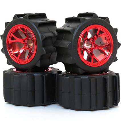 2pcs RC 2.2 Paddle Tires Sand Mud Snow Tyre 94mm /& 2.2 Truck Wheel Rims hex 12mm