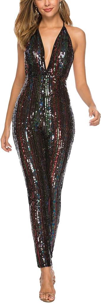 Chowsir Women Spaghetti Strap Deep V Neck Sequin Glitter Jumpsuits Rompers Clubwear Bodycon