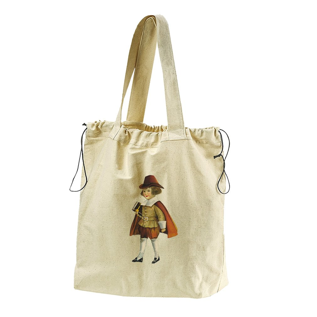 Kid With Red Hat And A Coat Thanksgiving Canvas Drawstring Beach Tote Bag