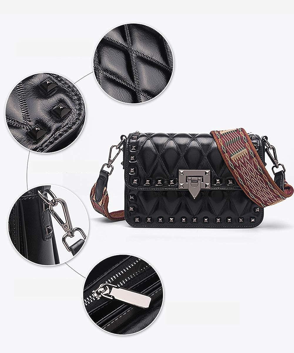 Borsa a tracolla da donna alla moda, borsa a tracolla larga con tracolla larga in pelle rombica nera, adatta per incontri di lavoro di viaggio Green