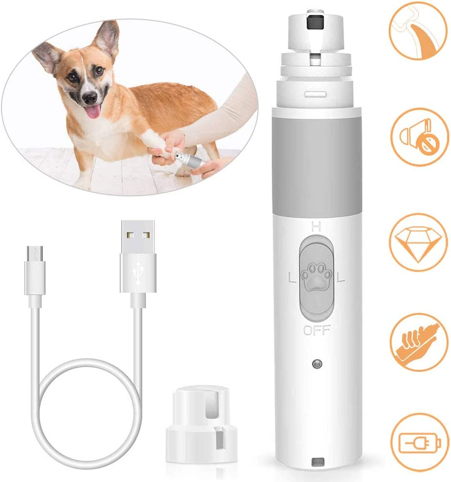 Dog Nail Grinder, Upgraded Powerful Pet Nail Grinder 2 Speed,Electric Pet Claw Trimming Gromming Nail File Grinder for Small and Large Dogs Cats