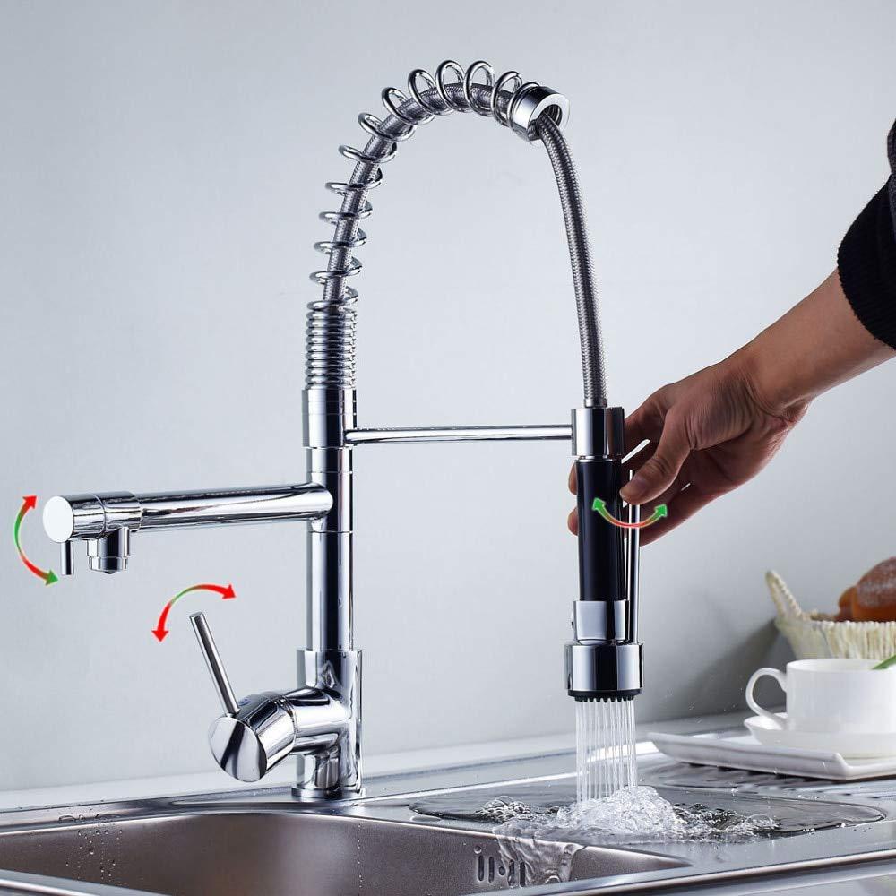 Decorry Chrom Küchenarmatur Pull Down Sprayer Schiff Sink Wasserhahn Mischbatterie Einlochmontage Heißes Und Kaltes Wasser Schwenkausgüsse Dual Sprühgeräte