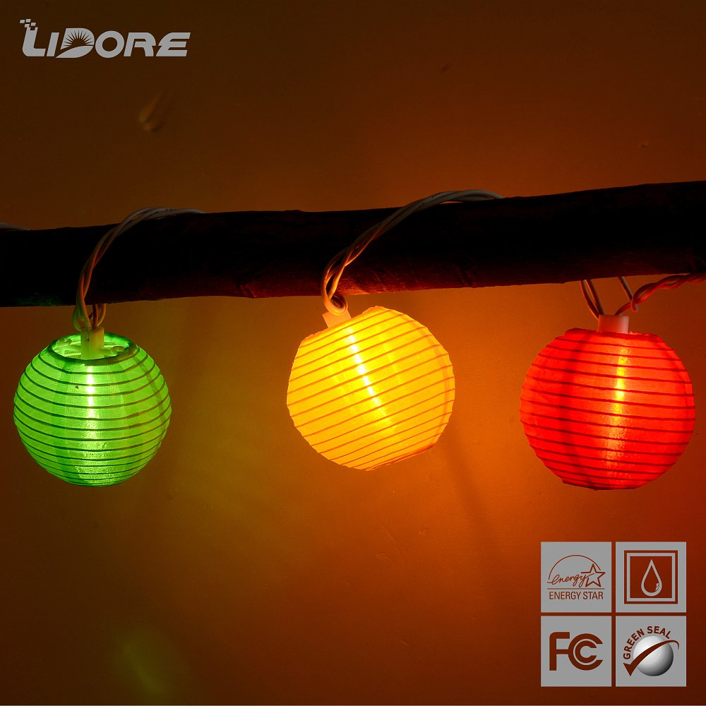 String Of Lantern Lights Indoor : lovely LIDORE Set of 10 Multi color Indoor/outdoor Oriental Style Nylon Lantern String Light ...