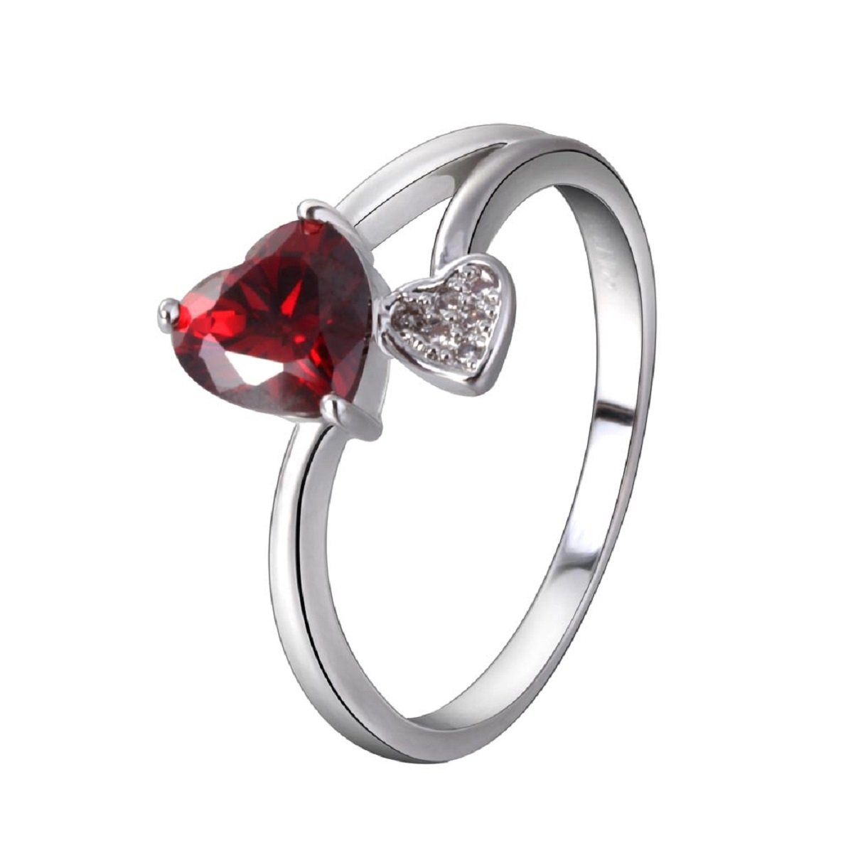YAZILIND Silver Plated Red Cubic Zirconia Heart Eternity Ring Love Promise Wedding Band Ring Size 8