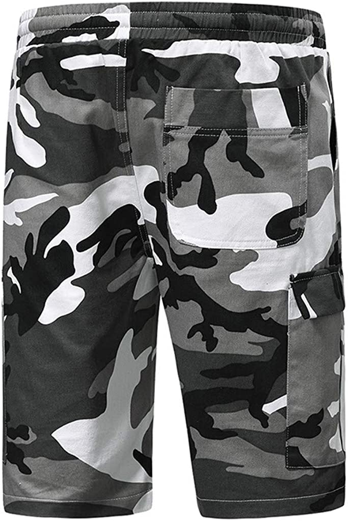 Mens Simple Camouflage Twill Cargo Shorts Combat Shorts Knee Length Short Trousers with Pockets