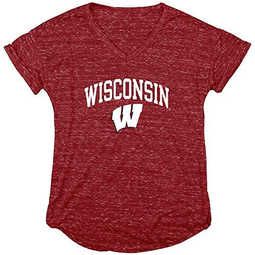 Elite Fan Shop Wisconsin Badgers Womens Vneck Tshirt Red - S -