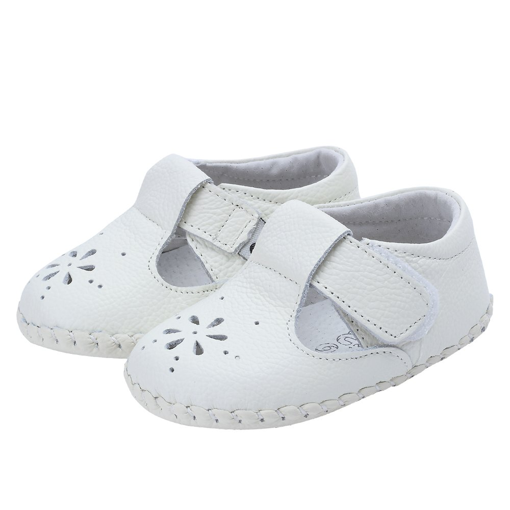 Kuner Baby Girls Genuine Leather Anti-Slip Summer Prewalker Toddler Sandals First Walkers Outdoor Shoes (12.5cm(12-18months), White-2) by Kuner (Image #5)