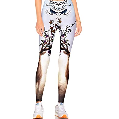 3475c2f654200e Tulucky Women's Best Printed Leggings Yoga Workout Stretchy Tights Pants(S  ...