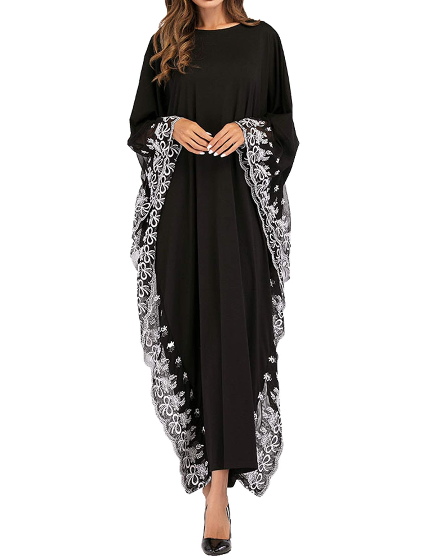 Qianliniuinc Abaya Kaftan Dresses for Women-Long Dress Plus Size Bat Sleeve Clothing Muslim Evening Gown Black