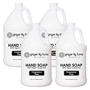 Ginger Lily Farms Botanicals All-Purpose Natural Fragrance-Free Hand Soap, Liquid Hand Soap Refill, 128 Ounces, 1 Gallon (Case of 4)
