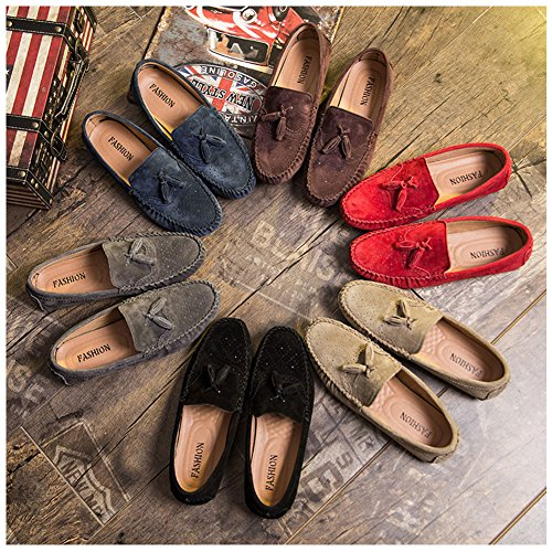 Driving On Walking Boat Men's Flats Rubber SenLu Casual Dress Suede Loafers Red Moccasins Shoes Slip wAqfPx0