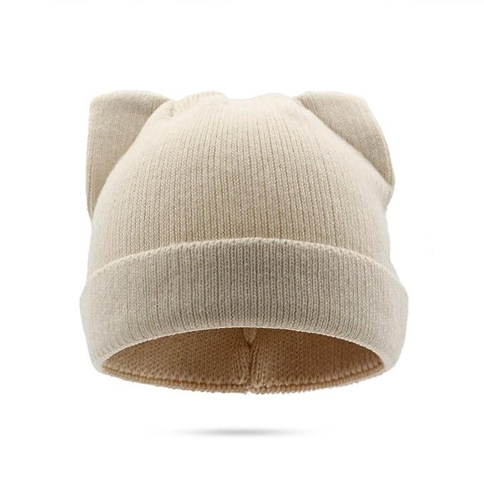 a2d07c0ddf963 MYCHOME Hombres Gorro de punto de lana para mujer Orejas de gato Gorra de  invierno Cálido Gorro para la cabeza Cálido (Color   1