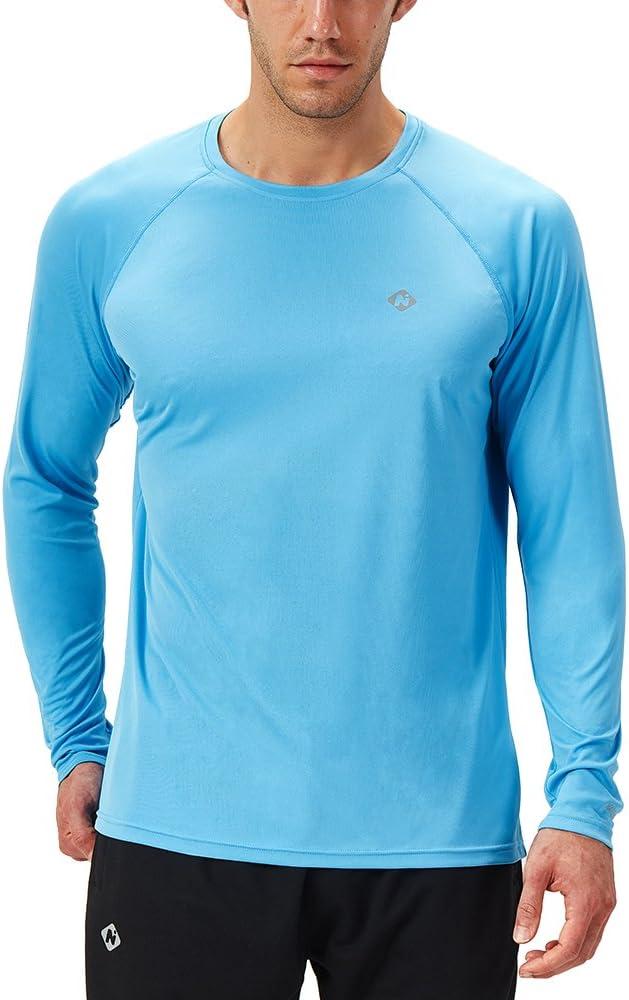 NAVISKIN Camiseta Deportiva Protección UV UPF 50+ Manga Larga Cuello Redondo para Hombre Acampada Senderismo Elástica Térmica Casual Transpirable: Amazon.es: Ropa y accesorios