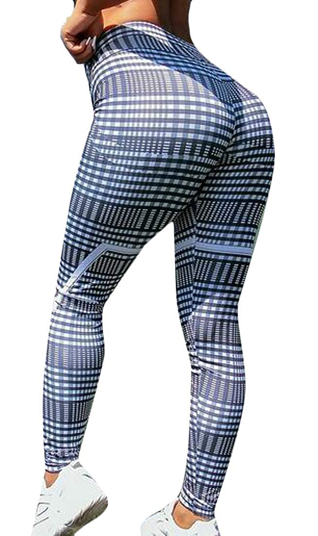Jotebriyo Womens Casual High Waist Plaid Gym Workout Yoga Butt Lift Sport Legging Pants