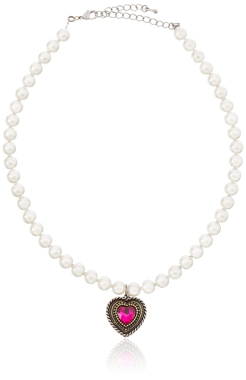 Lusana Damen Trachtenhalstuch Perlenkette mit Herz Grau (Kristall 45) SL219