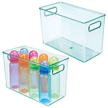 mDesign Deep Nursery Storage Box with Handles /— Plastic Baby Organiser Box for Nappies Clothes Toys and More /— Convenient Bedroom or Playroom Storage Container /— Clear