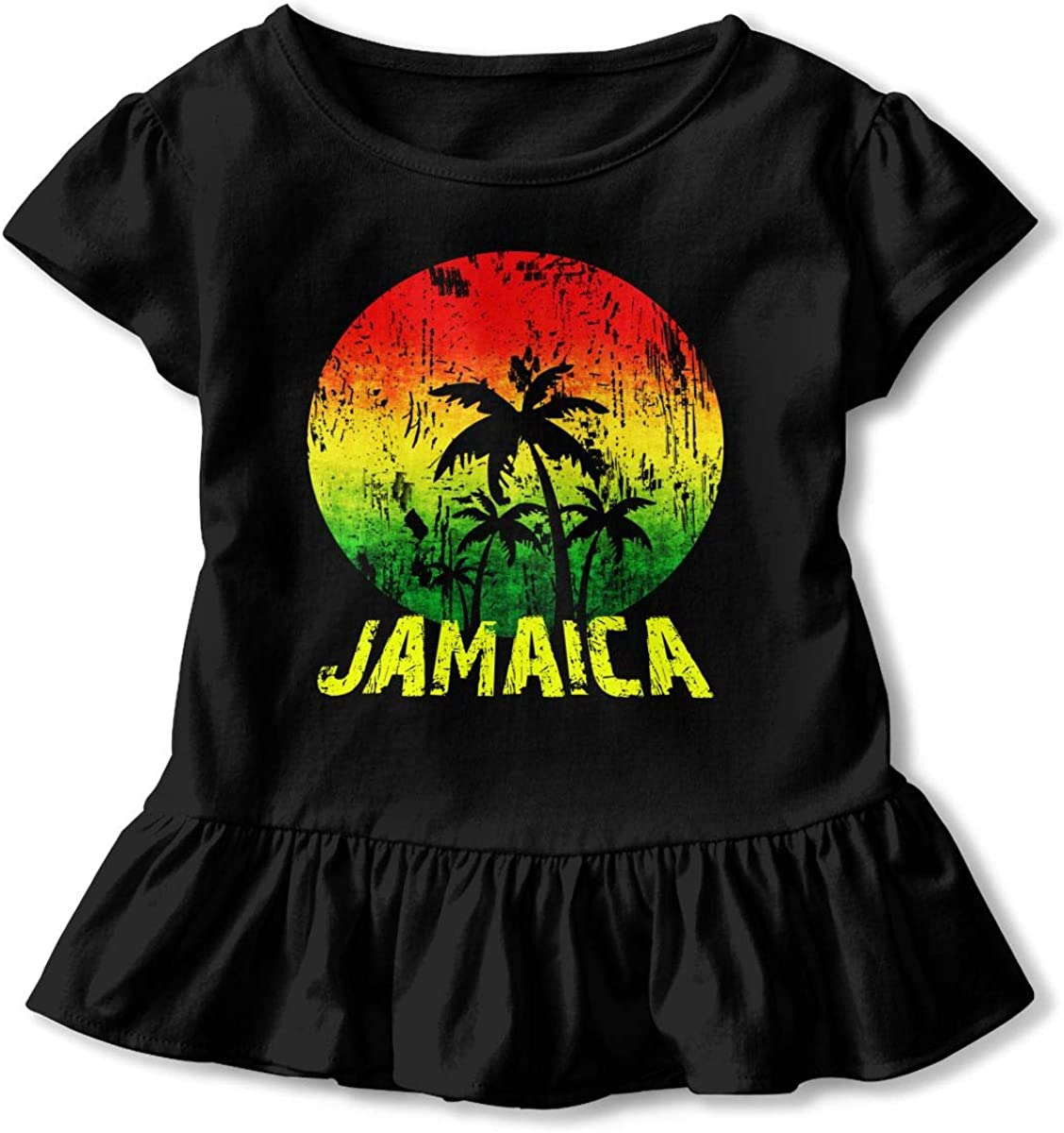 Cheng Jian Bo Jamaica Rasta Flag Coconut Tree Toddler Girls T Shirt Kids Cotton Short Sleeve Ruffle Tee